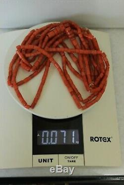 71gr Antique Salmon Coral Necklace Natural Undyed Beads