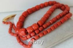 76gr Antique Faceted Red Coral Necklace Natural Undyed Beads Gold Clasp 18K