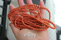 81gr Antique Salmon Coral Necklace Natural Undyed Beads