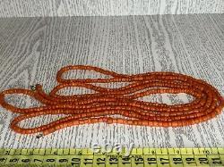 82gr Antique Salmon Coral Necklace Natural Undyed Barrel Shape Beads 1850-1870
