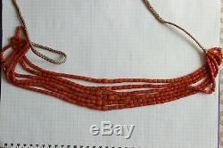 88gr Antique Salmon Coral Beads Barrel Shape Natural Undyed Ukrainian Necklace