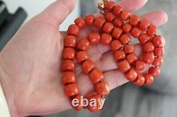 93gr Antique Natural Large Coral Necklace Natural Undyed Beads Gold Clasp 14k