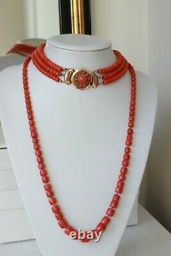 95gr Vintage Red Coral Choker Necklace Natural Undyed Beads Dutch Clasp Gold 14k