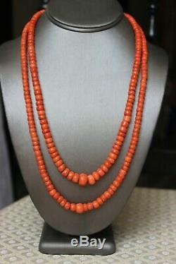 99gr Antique Salmon Coral Beads Natural Undyed Ukrainian Necklace