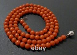 9.8 Grams 16.5 Vintage Natural Deep Red Salmon Coral Bead Necklace