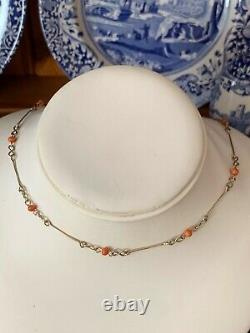 9ct Gold Chain Handmade Genuine Vintage Coral Bead Necklace