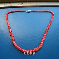 ANTIQUE 1920 ITALIAN CORAL BEADS 21 INCHES LONG NECKLACE RARE ANTIQUE Red Coral