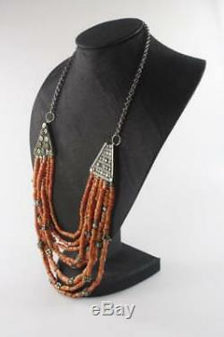 ANTIQUE 19th Century TIBETAN UNDYED NATURAL RED CORAL BEAD SILVER NECKLACE