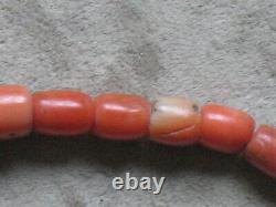 ANTIQUE 30gr Original Undyed Natural Red Coral GENUINE BEADS NECKLACE Salmon Old