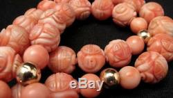ANTIQUE CHINESE HANDCARVED NATURAL CORAL BEAD & 14K GOLD NECKLACE 25 106 gms