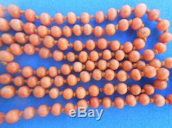 ANTIQUE NATURALANGEL SKIN CORAL BEAD NECKLACE-130 BEADS! -4mm -AGE 1930s