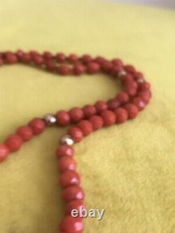 ANTIQUE VICTORIAN Faceted Blood Red Coral Beads Necklace