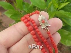 ANTIQUE VINTAGE ART DECO CARVED UNDYED RED CORAL BEAD NECKLACE 17 16.22g