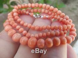 ANTIQUE VINTAGE VICTORIAN CARVED UNDYED SALMON CORAL BEAD NECKLACE 17 13.88g