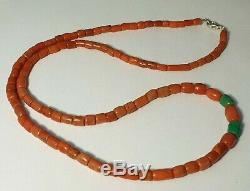 A BEAUTIFUL NECKLACE OF ANTIQUE INDO-TIBETAN NATURAL CORAL BEADS (32 Gram)
