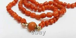 A Fine Antique Natural Red Color Coral Beads Long Necklace