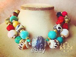 African Statement Necklace Multi Gem Turquoise Old Coral Batik Zebra Bone Beads