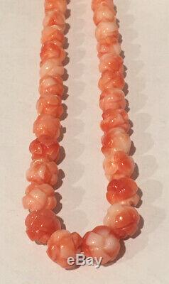 All Natural Vtg Hawaiian Angel Skin Handcarved Coral Rose Bead Necklace 50-60's