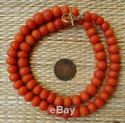 Ancien Collier Perle Corail Fermoir Or Antique Coral Bead Necklace Gold Clasp