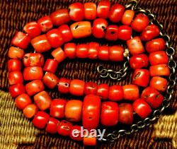 Ancient Red Coral Beads Necklace Tibetan Natural Coral Beads 16