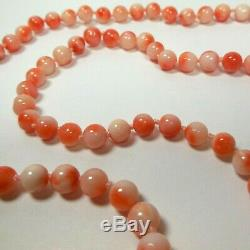 Angel Skin Coral Necklace 31 Hand Knotted Beads