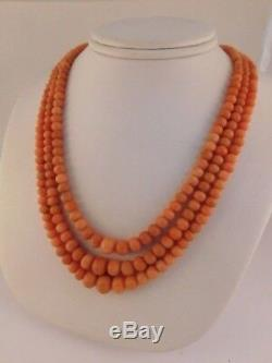 Angel Skin Natural Coral Triple Strand Necklace 10k Gold Graduated Bead Box