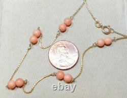 Angle Skin Coral Bead 18k Yellow gold Chain 23 Necklace 9d 96