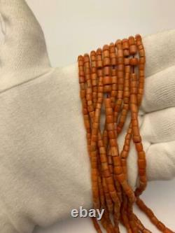 Antique 100 % Natural UNDYED russet sea CORAL beads necklace 55gr