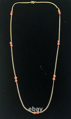 Antique 10K Yellow Gold Chain With Coral Beads Necklace 16