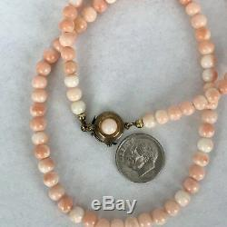 Antique 10Kt 12Kt Yellow Gold Coral Bead Necklace
