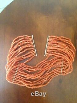 Antique 1910 14K Natural Coral Beads Choker Necklace 14 Strands, 13.5 x 2