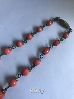 Antique Art Deco Coral Signed Czech Glass Enamel Flower Bead Necklace