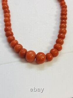 Antique Art Deco Natural Red Coral Graduated Beads Necklace 9CT Gold Clasp 45cm