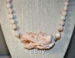 Antique Carved Bird Flowers Angel Skin Coral Bead Necklace Chinese Estate Lot