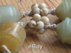 Antique Chinese Jade Beads Necklace Pendant Corals