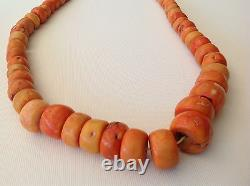 Antique Chinese Natural coral salmon color Bead 290 gram necklace (m1117)