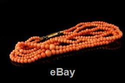 Antique Chinese Salmon Coral Beads 2 Strand Graduated Gf Necklace D91-04