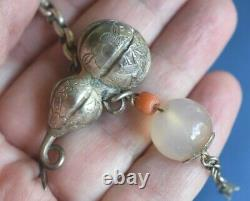 Antique Chinese Silver Gourd Opium Chatelaine Necklace Coral Bead Pendant