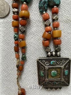 Antique Chinese Tibeten Amber Coral Turqoise Sterling Beaded Necklace