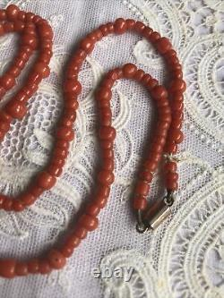 Antique Coral Bead Necklace With Barrel Clasp, C 1880