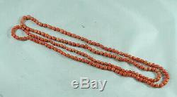 Antique Coral Beaded Necklace 91cm x 0.5cm 33.4g GEZX008