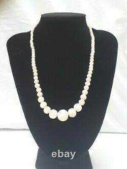 Antique Edwardian natural coral bead necklace with 9ct gold clasp
