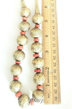 Antique Ethiopian 14 karat gold Natural Red Coral Beads Necklace late 19th