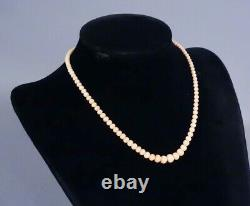 Antique French 14K Gold Pink Angelskin Coral Graduated Bead Strand Necklace