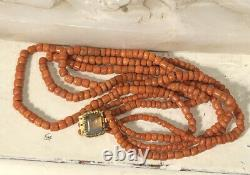 Antique Georgian 3 Strand Coral Bead Necklace with Pinchbeck Chalcedony Clasp 50g