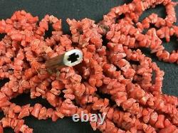 Antique Georgian Period Multiple Strand Red Coral Bead Necklace c. 1810