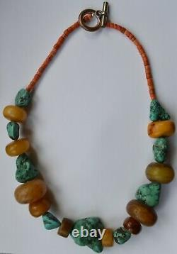 Antique Himalayan Tibetan necklace with large Turquoise Red coral beads