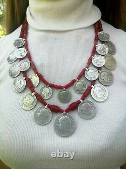 Antique Hutsul necklace silver beads corals coins national ukrainian zgardyrar