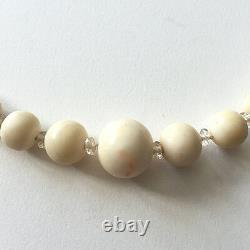 Antique Natural Angel Skin Coral & Rock Crystal Bead Necklace with Silver Clasp