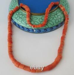 Antique Natural CORAL UNDYED Salmon NECKLACE 32 g Vintage Old Beads Ukrainian